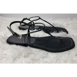 Prada Black T-Bar Thin Strap Sandals Italian Sz 39